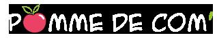 Logo Pomme de Com' Blanc, Agence de communication web et print à lisieux